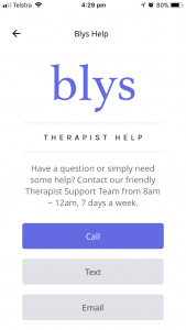 Blys massage therapist app - account page - help